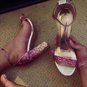 Glittered Ankle Strapped Sandals (Heels)